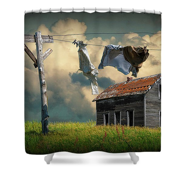 Wash On The Line By Abandoned House Shower Curtain