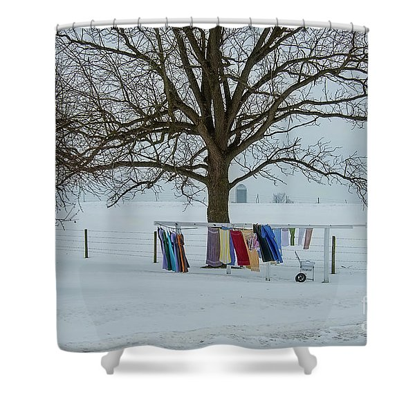 Wash On The Line In December Snow Shower Curtain