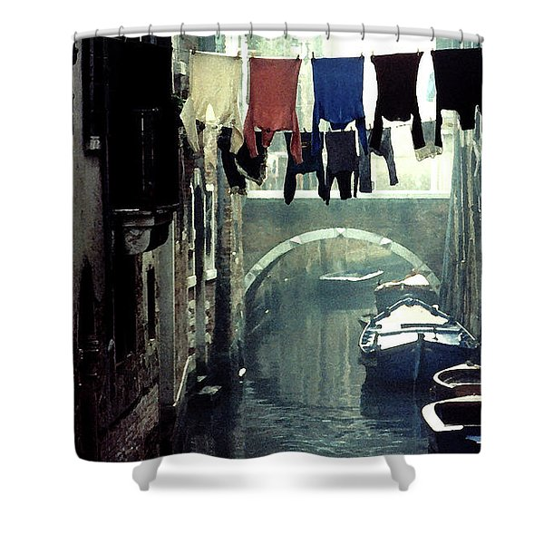 Washday In Venice Italy Shower Curtain