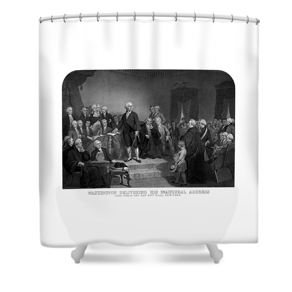 Washington Delivering His Inaugural Address Shower Curtain
