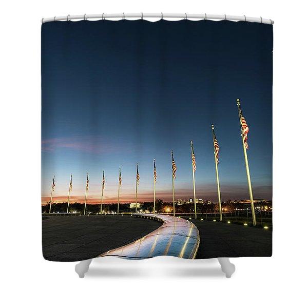 Washington Monument Flags Shower Curtain