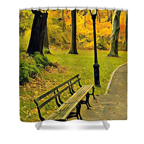 Washington Square Bench Shower Curtain