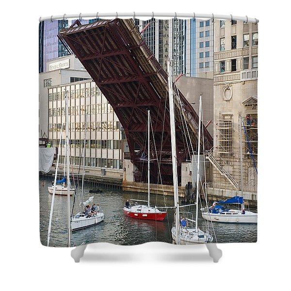 Washington Street Bridge Lift Chicago Shower Curtain