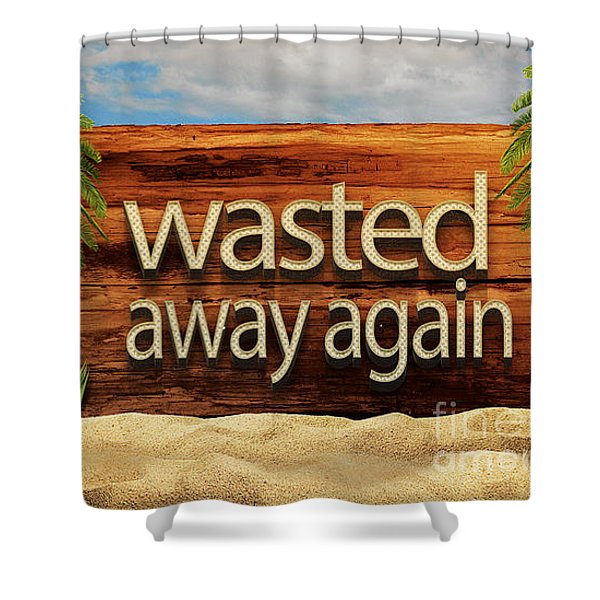 Shower Curtain featuring the drawing Wasted Away Again Jimmy Buffett by Edward Fielding