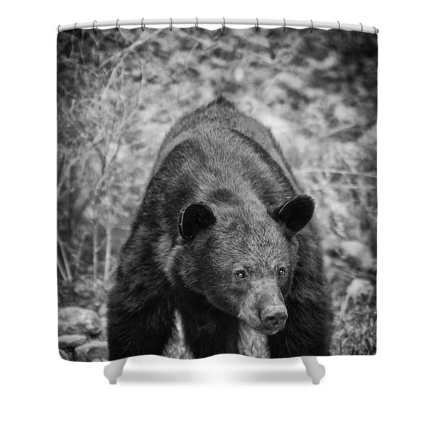 Watch Out-bw Shower Curtain