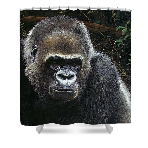 Shower Curtain featuring the painting Watchful Domain by Alan M Hunt