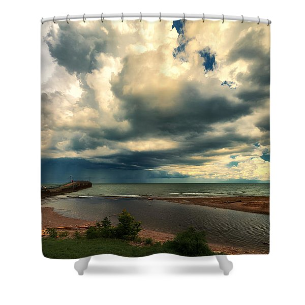 Watching The Storm On Lake Erie Shower Curtain