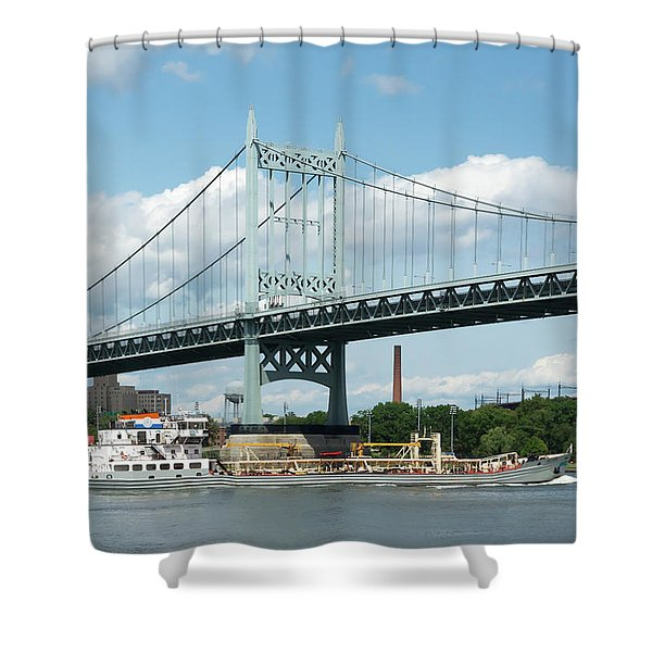 Water And Ship Under The Bridge Shower Curtain