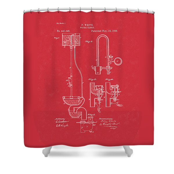 Water Closet Patent Art Red Shower Curtain