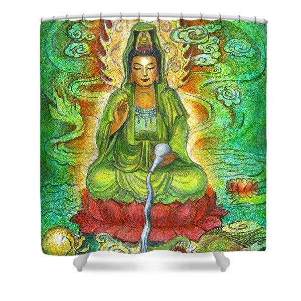 Water Dragon Kuan Yin Shower Curtain