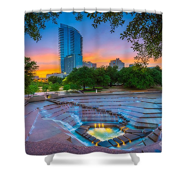 Water Gardens Sunset Shower Curtain