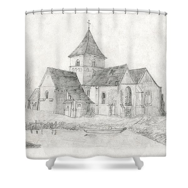Water Inlet Near Church Shower Curtain