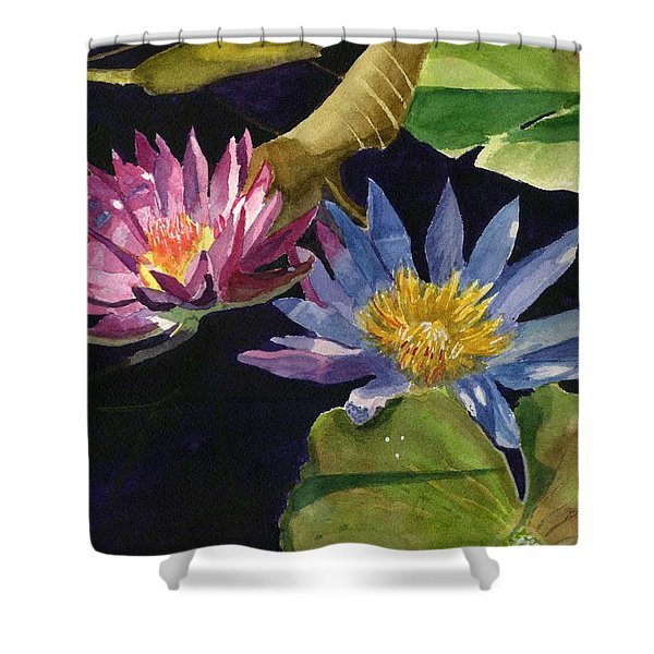 Water Lilies Shower Curtain by Lynne Reichhart