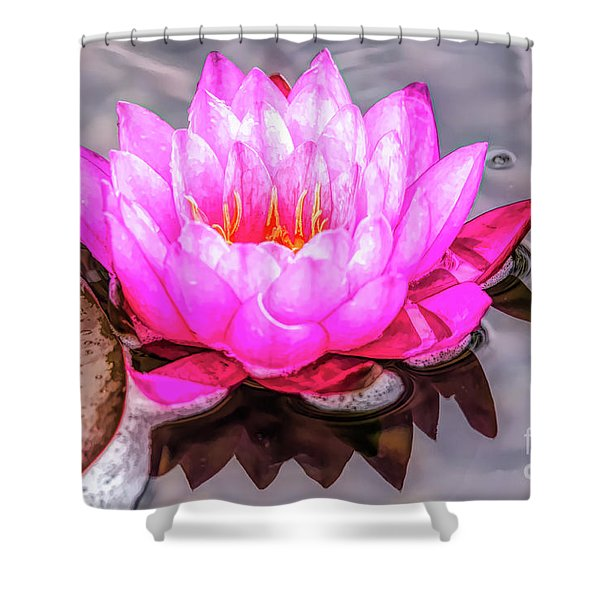 Water Lily In The Rain Shower Curtain