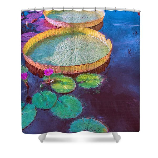 Water Lily Pattern Shower Curtain