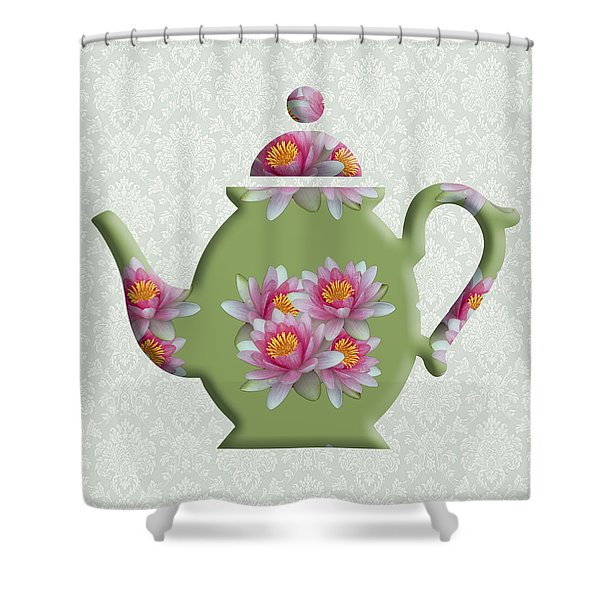 Water Lily Pattern Teapot Shower Curtain