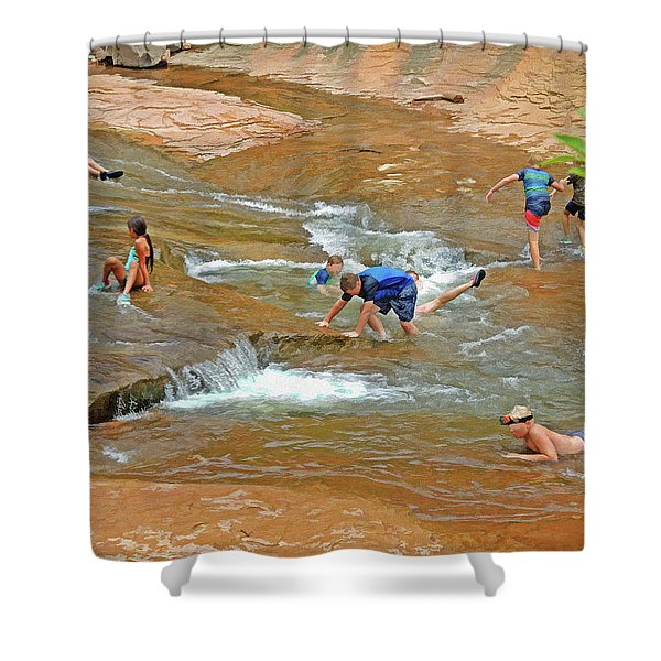 Water Play 3 Shower Curtain