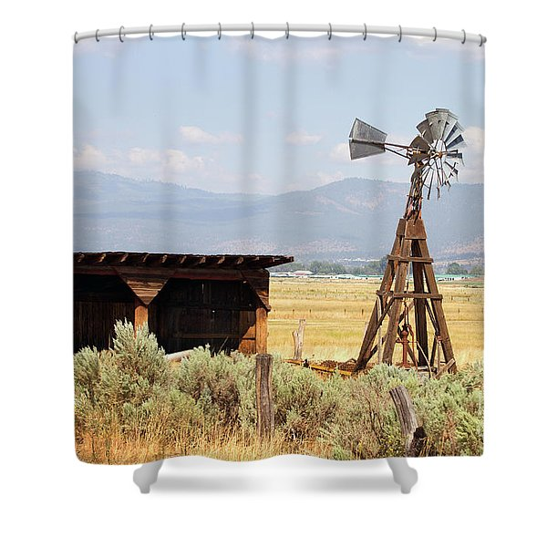 Water Pumping Windmill Shower Curtain