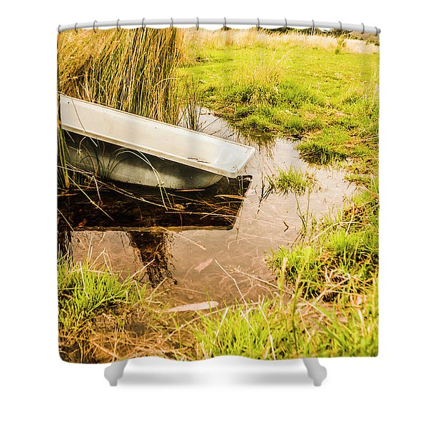 Water Troughs And Outback Farmland Shower Curtain