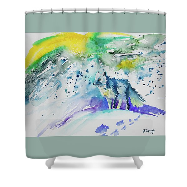 Watercolor - Arctic Fox Shower Curtain