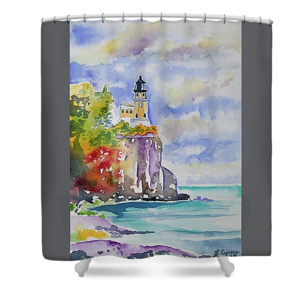 Watercolor - Autumn At Split Rock Lighthouse Shower Curtain