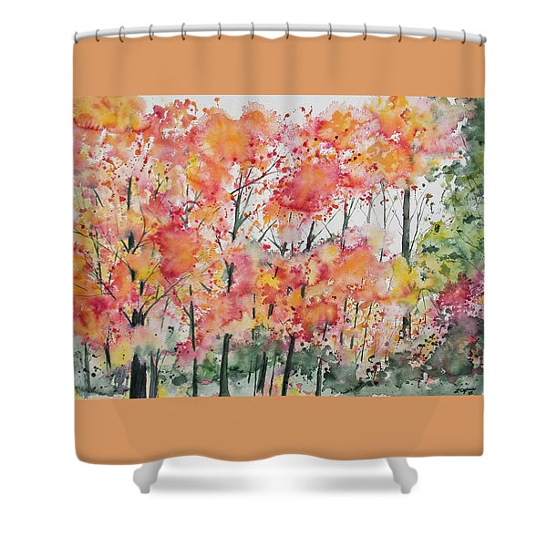 Watercolor - Autumn Forest Shower Curtain