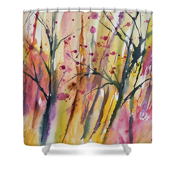 Watercolor - Autumn Forest Impression Shower Curtain
