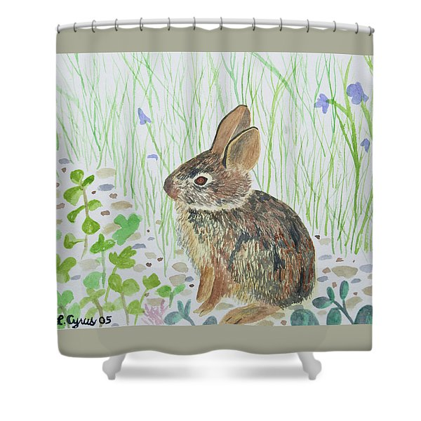 Watercolor - Baby Bunny Shower Curtain