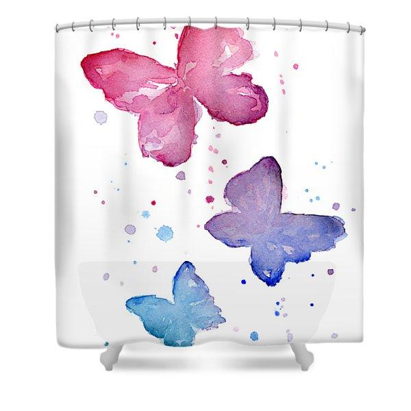 Watercolor Butterflies Shower Curtain