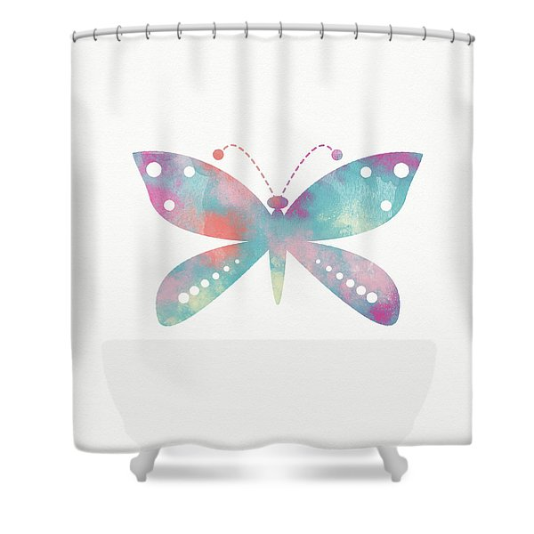 Watercolor Butterfly 3-art By Linda Woods Shower Curtain