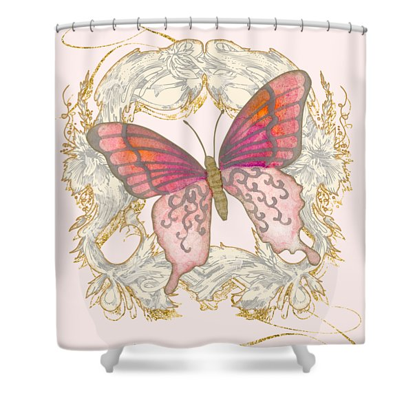 Watercolor Butterfly With Vintage Swirl Scroll Flourishes Shower Curtain
