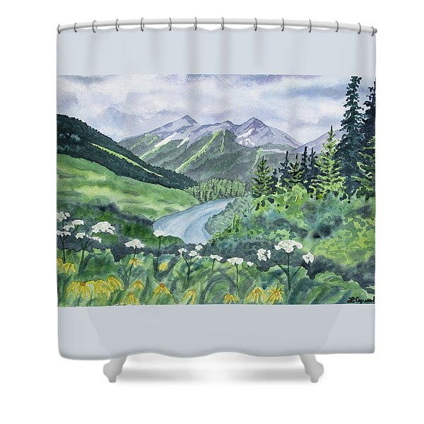 Watercolor - Colorado Summer Landscape Shower Curtain