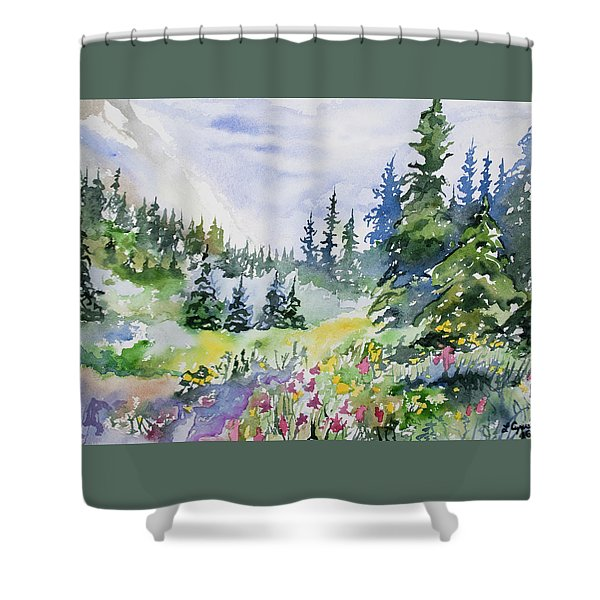 Watercolor - Colorado Summer Scene Shower Curtain