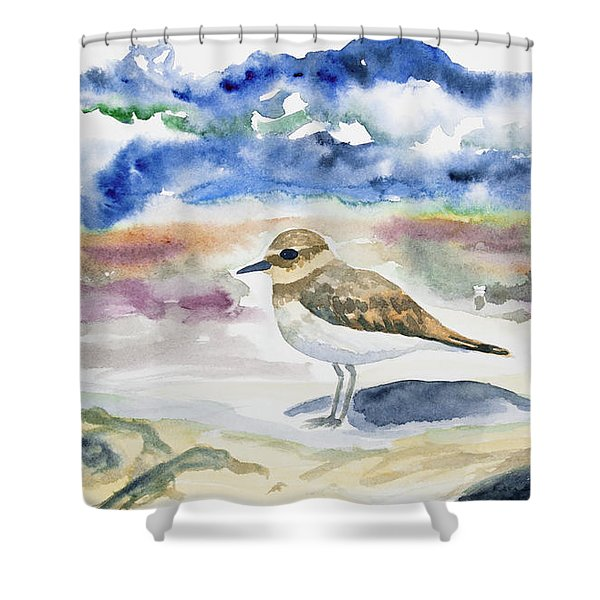 Watercolor - Double-banded Plover On The Beach Shower Curtain