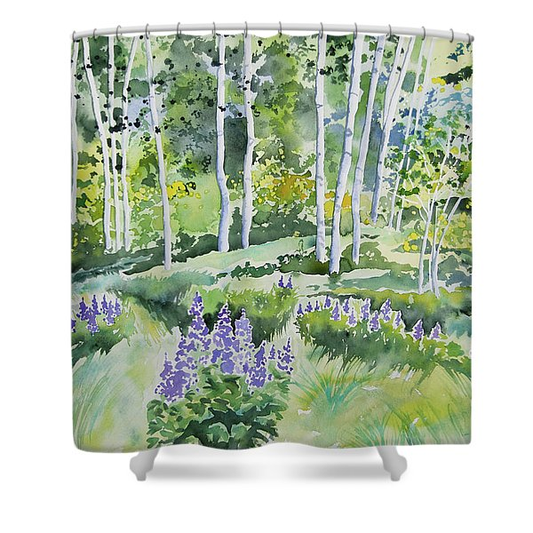 Watercolor - Early Summer Aspen And Lupine Shower Curtain