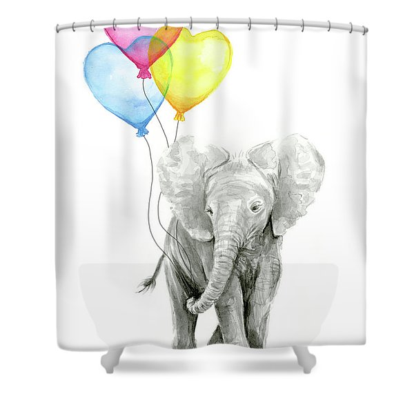Watercolor Elephant With Heart Shaped Balloons Shower Curtain