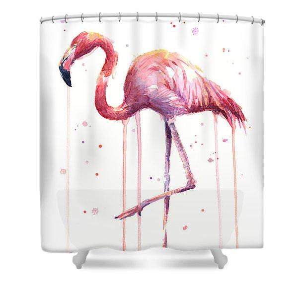Watercolor Flamingo Shower Curtain
