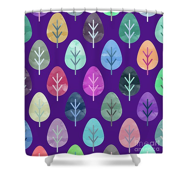 Watercolor Forest Pattern II Shower Curtain