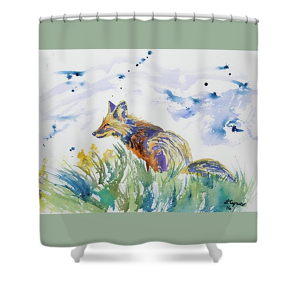Watercolor - Fox On The Lookout Shower Curtain