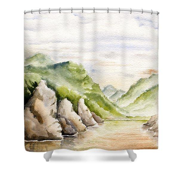 Watercolor Landscape Plein Air Shower Curtain
