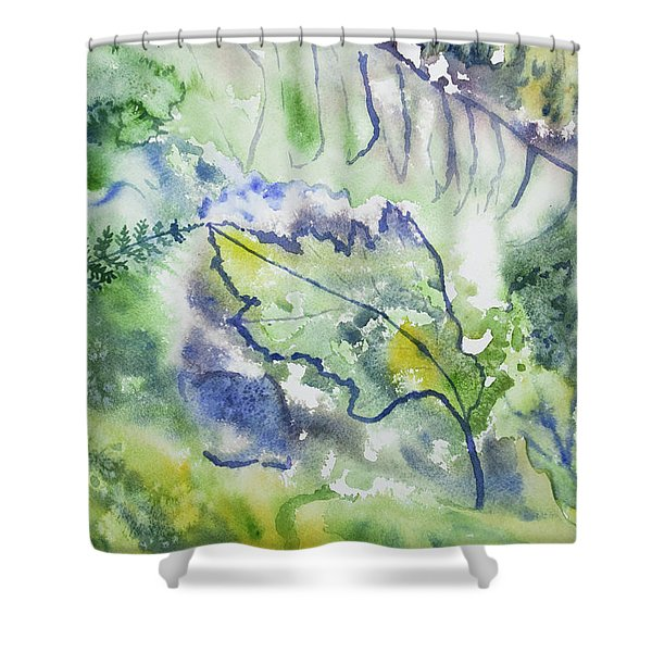 Watercolor - Leaves And Textures Of Nature Shower Curtain