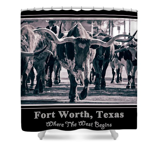 Watercolor Longhorns 2015 Shower Curtain