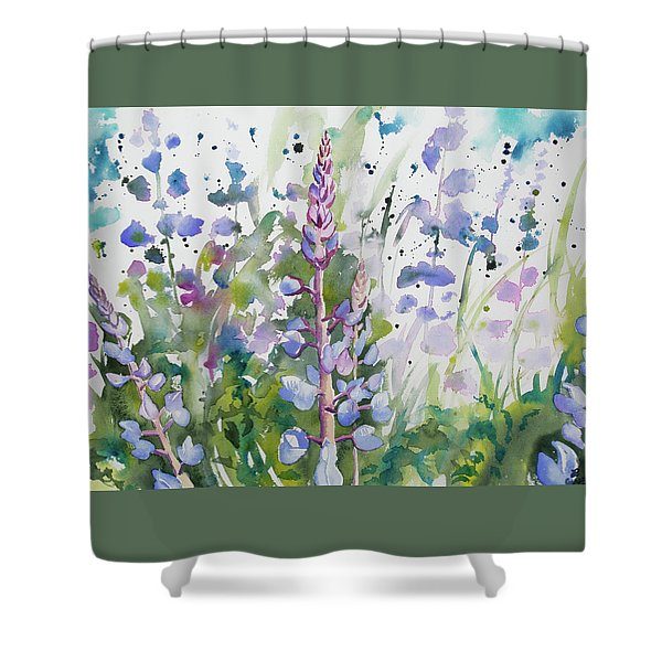 Watercolor - Lupine Wildflowers Shower Curtain