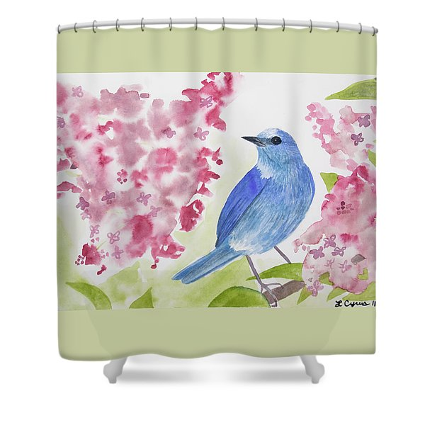 Watercolor - Mountain Bluebird Shower Curtain