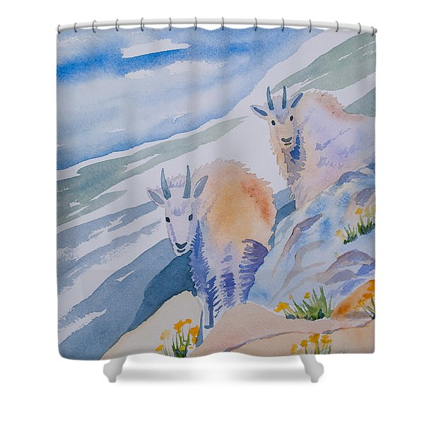 Watercolor - Mountain Goats On Quandary Shower Curtain