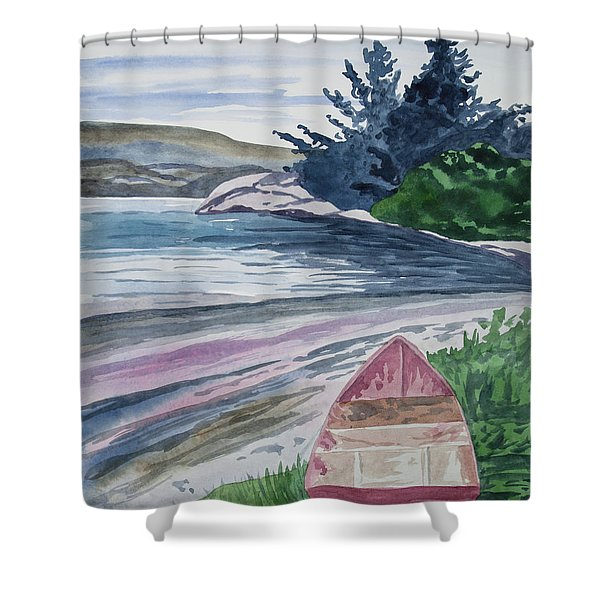 Watercolor - New Zealand Harbor Shower Curtain