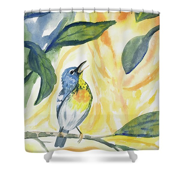 Watercolor - Northern Parula In Song Shower Curtain
