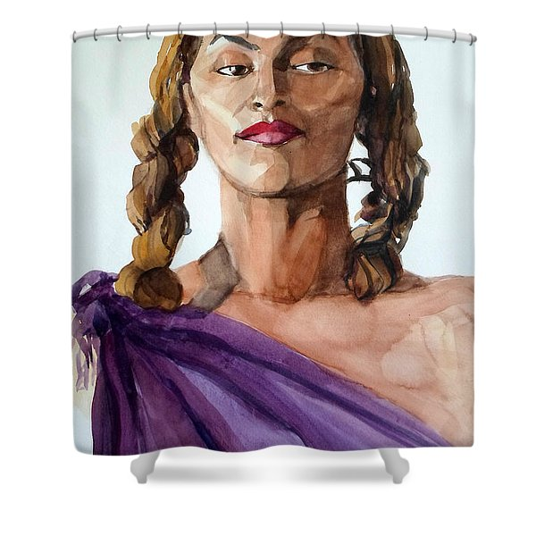 Portrait In Watercolor Of A Brooklyn Queen Shower Curtain