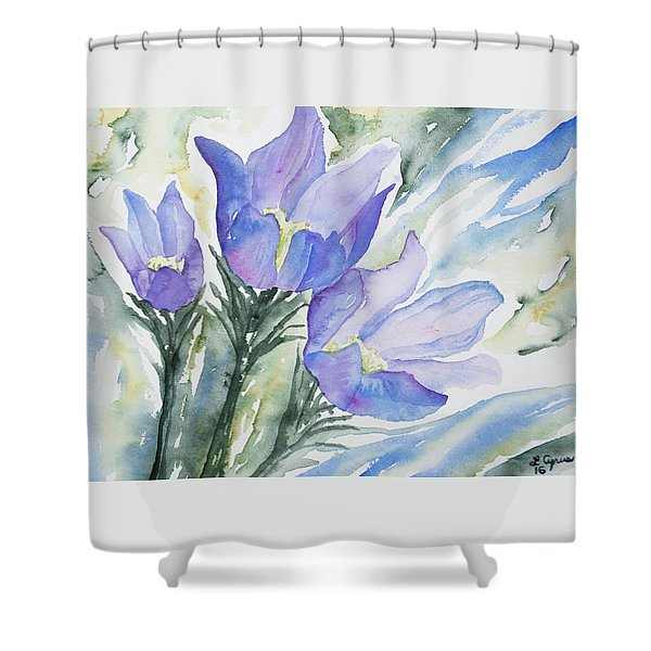 Watercolor - Pasque Flowers Shower Curtain