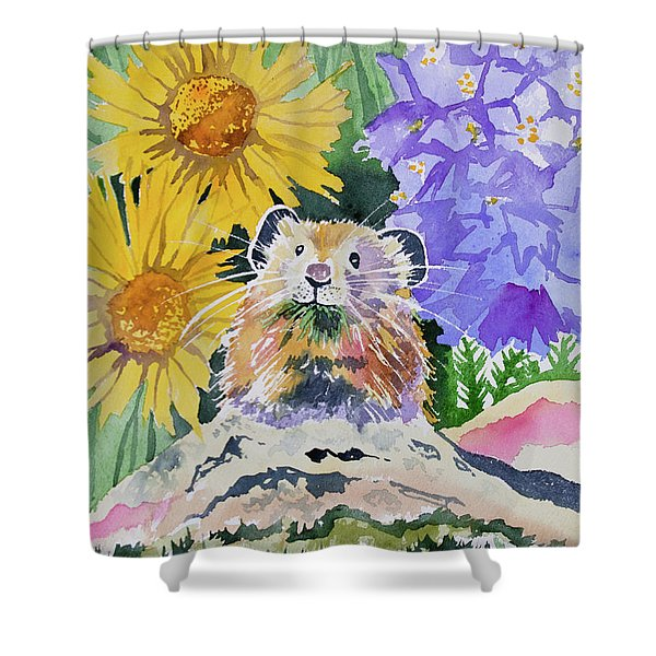 Watercolor - Pika With Wildflowers Shower Curtain